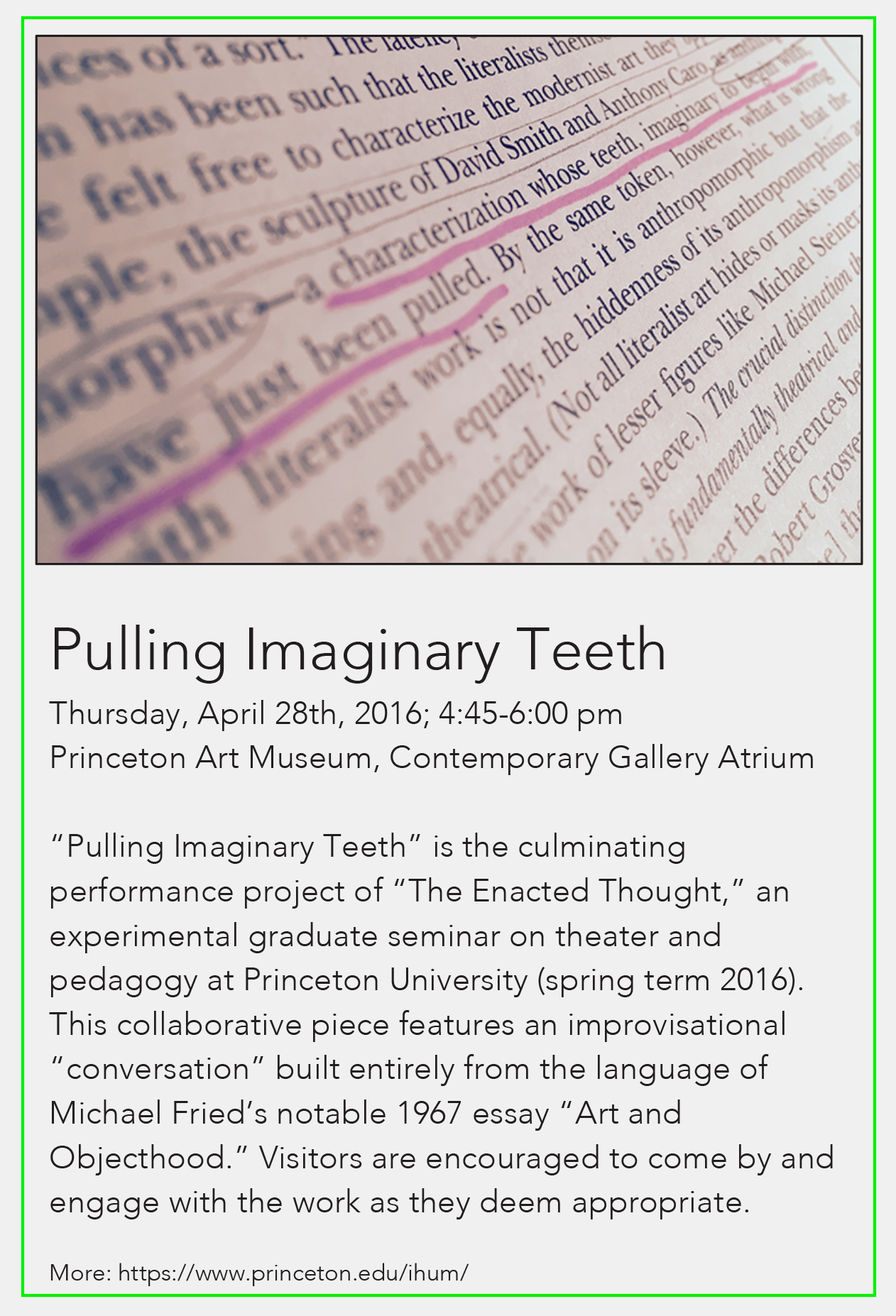 enactedthought princeton art museum it was a jointly conceived and jointly executed effort to experiment non traditional forms of textual critical engagement
